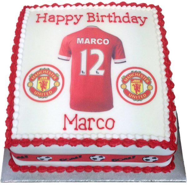 Man United Personalised Shirt Birthday Cake