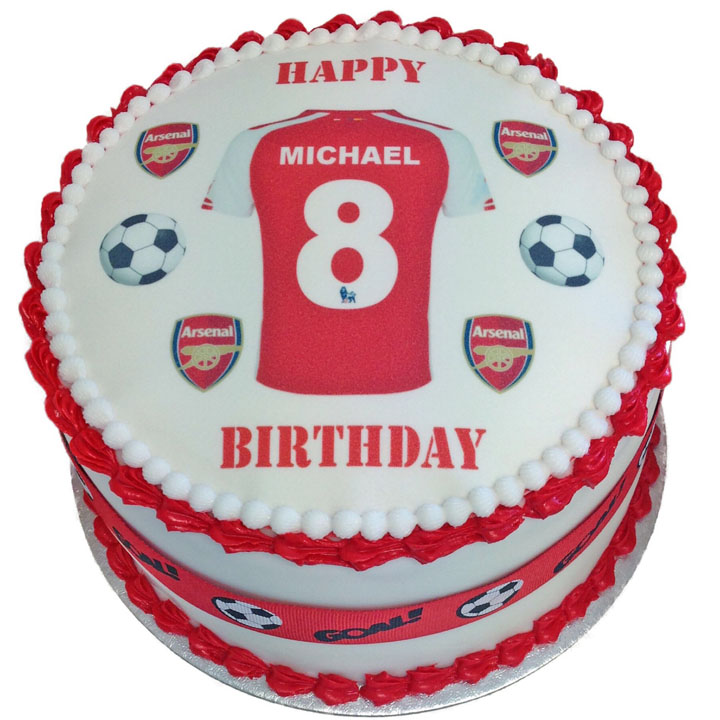 Arsenal Personalised Shirt Birthday Cake