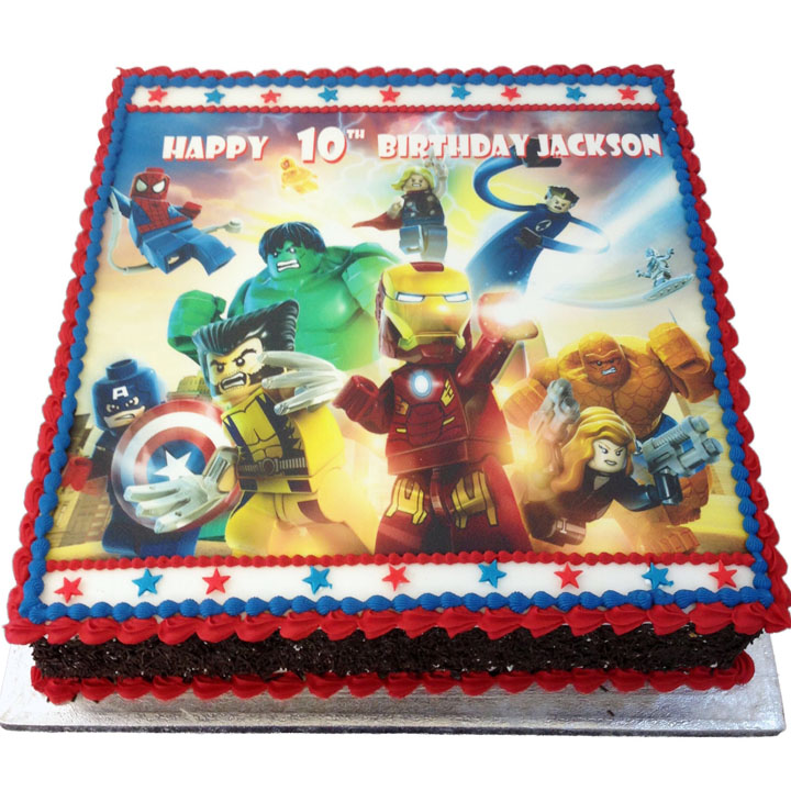 Lego Superhero Birthday Cake
