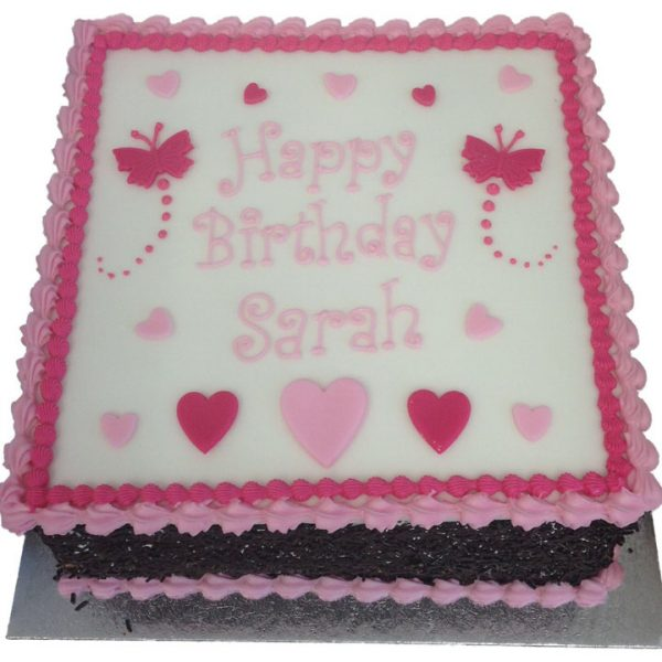 Butterflies and Hearts Birthday Cake