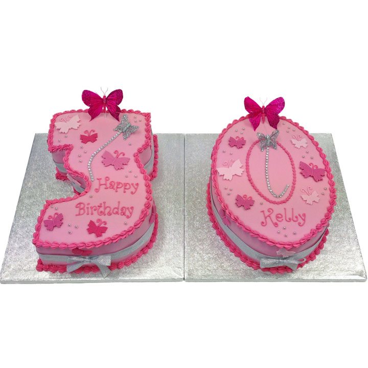 Pink Butterflies Number Cake