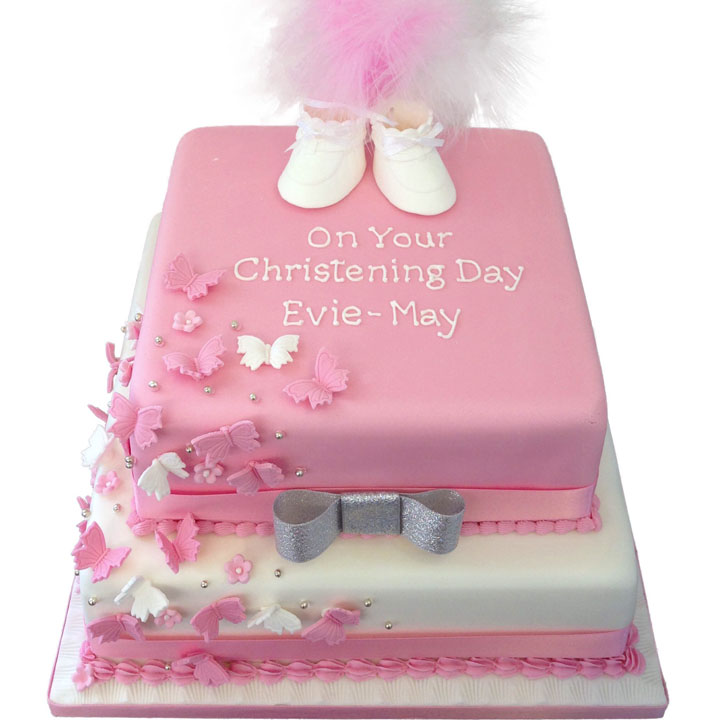Pink and White Butterflies Cake