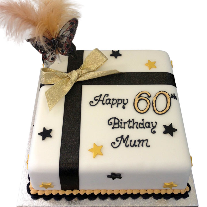 Present Style Birthday Cake with Stars