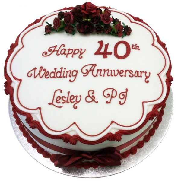 Traditional Flowers Anniversary Cake