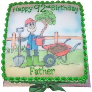 Hand Drawn Gardener Birthday Cake