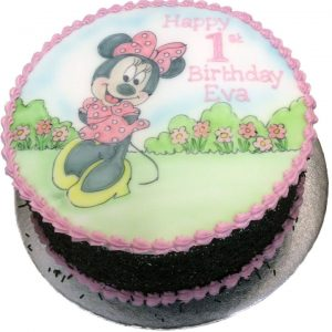 Hand Drawn Minnie Mouse Birthday Cake