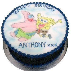 Hand Drawn Spongebob and Patrick Birthday Cake