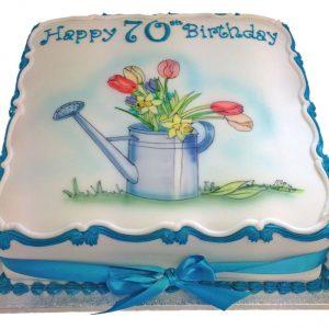Hand Drawn Gardening Birthday Cake