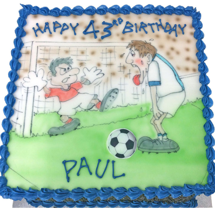 Hand Drawn Footballer Birthday Cake