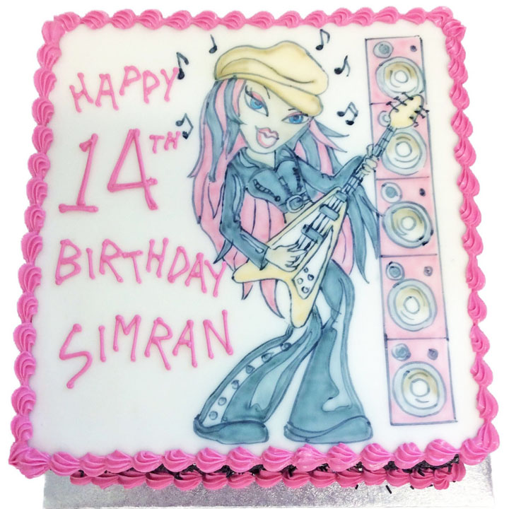 Hand Drawn Bratz Birthday Cake