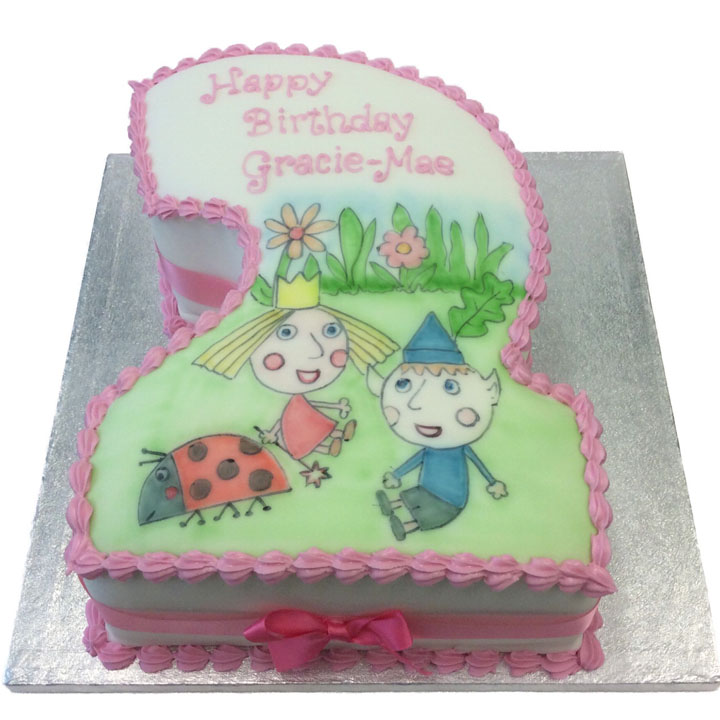 Hand Drawn Ben and Holly Number Cake