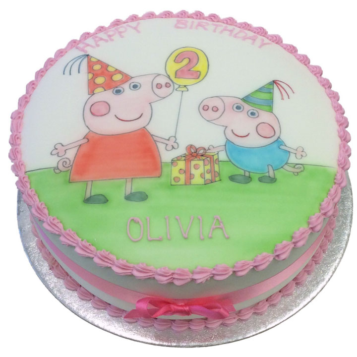 Hand Drawn Peppa & George Cake