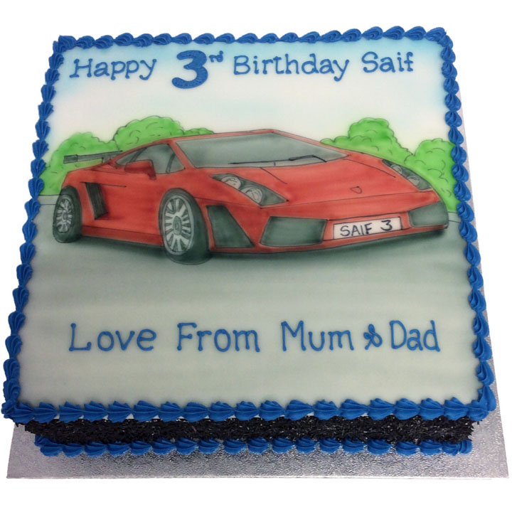 Hand Drawn Sports Car Birthday Cake