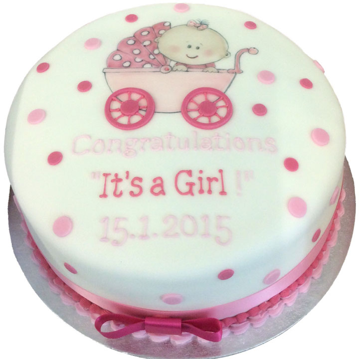 Hand Drawn Baby in Pram Cake