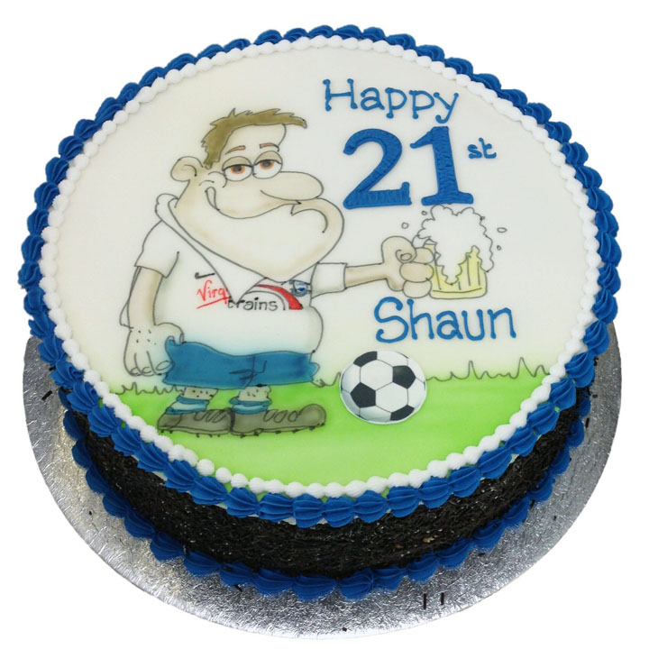 Hand Drawn Football Fan & Beer Birthday Cake
