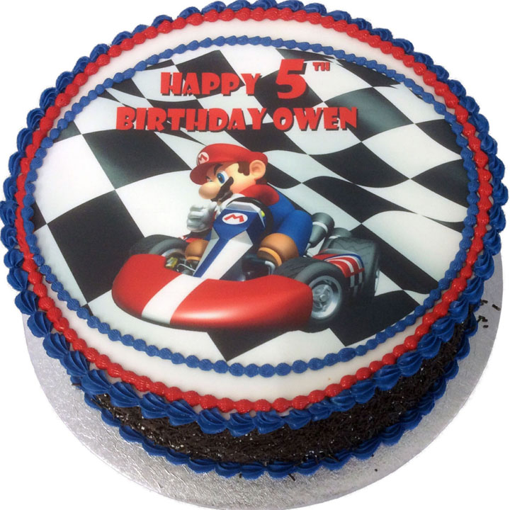 Stupendous Mario Kart Birthday Cake Flecks Cakes Personalised Birthday Cards Sponlily Jamesorg