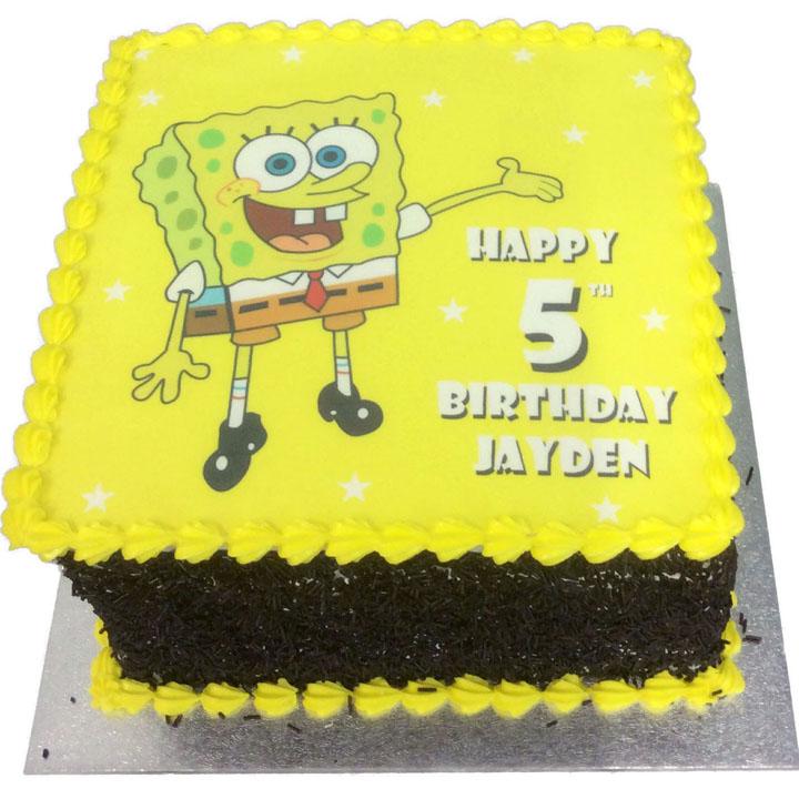 Magnificent Spongebob Birthday Cake Flecks Cakes Funny Birthday Cards Online Alyptdamsfinfo