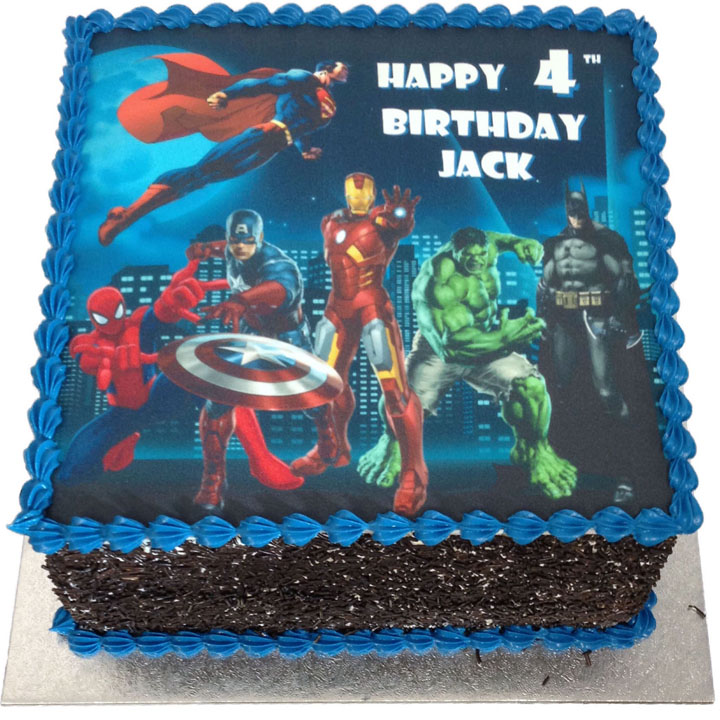 Enjoyable Superheroes Birthday Cake Flecks Cakes Personalised Birthday Cards Veneteletsinfo