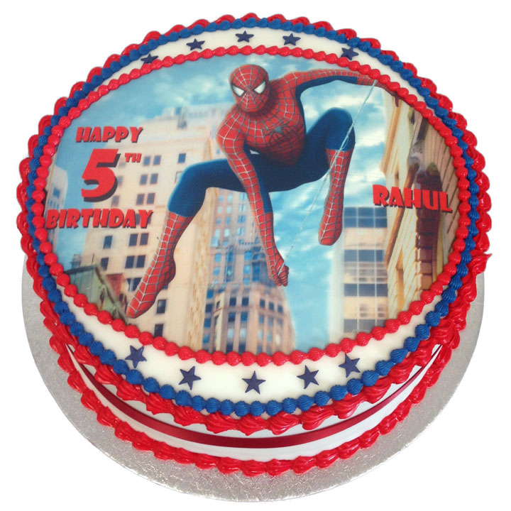 Peachy Spiderman Birthday Cake Flecks Cakes Personalised Birthday Cards Paralily Jamesorg