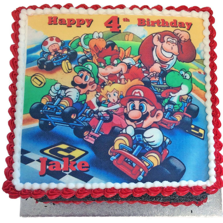 Pleasing Mario Karts Birthday Cake Flecks Cakes Personalised Birthday Cards Sponlily Jamesorg