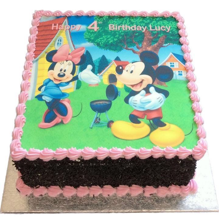 Groovy Mickey And Minnie Birthday Cake Flecks Cakes Funny Birthday Cards Online Overcheapnameinfo