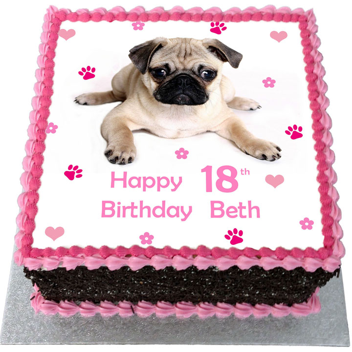 Pug Birthday Cake Flecks Cakes