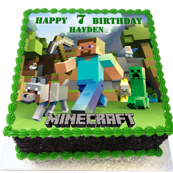 Outstanding Minecraft Birthday Cake Flecks Cakes Funny Birthday Cards Online Necthendildamsfinfo