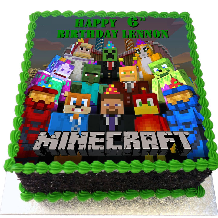 Astounding Minecraft Birthday Cake Flecks Cakes Funny Birthday Cards Online Fluifree Goldxyz
