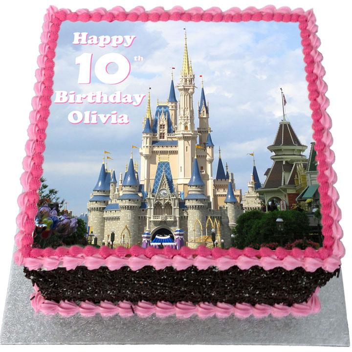 Outstanding Disney Castle Birthday Cake Flecks Cakes Personalised Birthday Cards Beptaeletsinfo