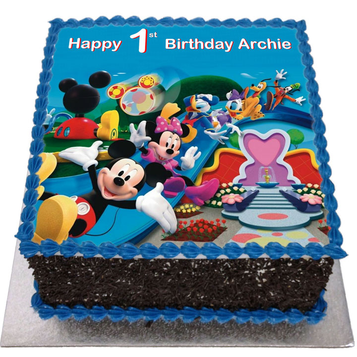Stupendous Mickey Mouse Clubhouse Birthday Cake Flecks Cakes Personalised Birthday Cards Veneteletsinfo