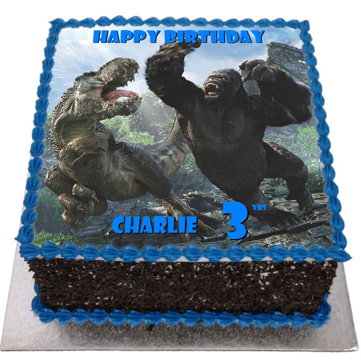 King Kong vs TRex Birthday Cake Flecks Cakes