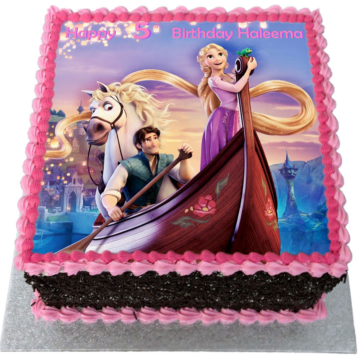Tremendous Tangled Birthday Cake Flecks Cakes Funny Birthday Cards Online Overcheapnameinfo