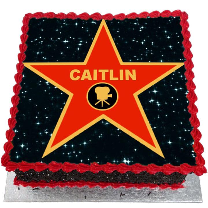 Fine Hollywood Star Birthday Cake Flecks Cakes Funny Birthday Cards Online Elaedamsfinfo