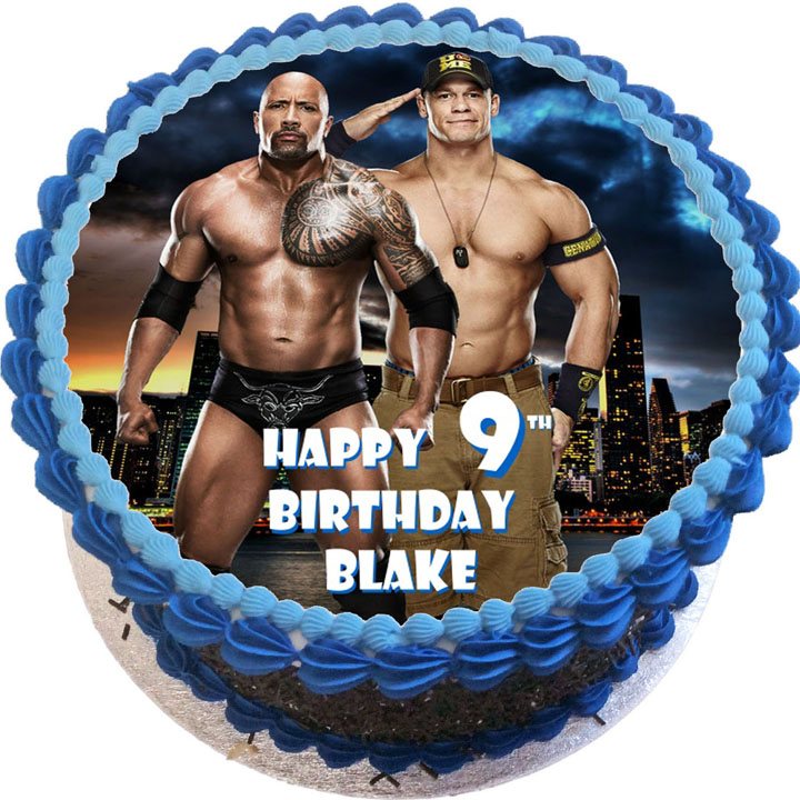 Astounding John Cena And The Rock Birthday Cake Flecks Cakes Personalised Birthday Cards Beptaeletsinfo