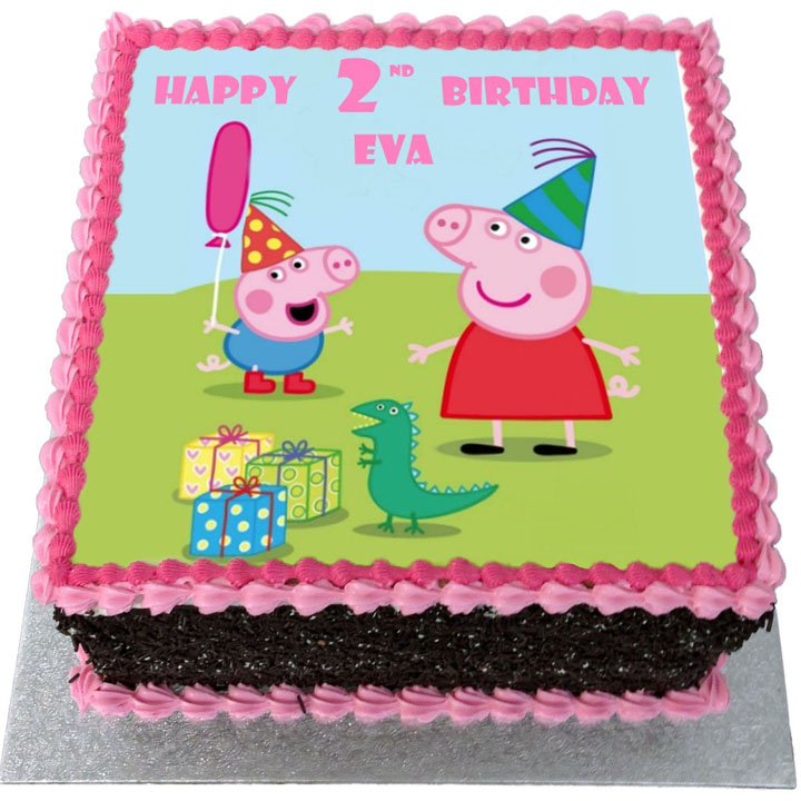 Excellent Peppa Pig Birthday Cake Flecks Cakes Personalised Birthday Cards Paralily Jamesorg