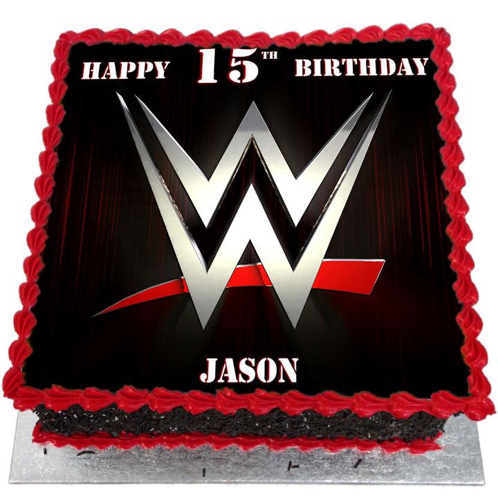 Surprising Wwe Network Logo Birthday Cake Flecks Cakes Funny Birthday Cards Online Inifodamsfinfo