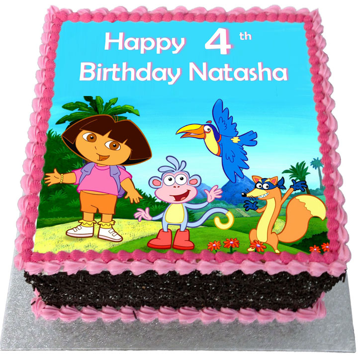 Marvelous Dora The Explorer Birthday Cake Flecks Cakes Personalised Birthday Cards Veneteletsinfo