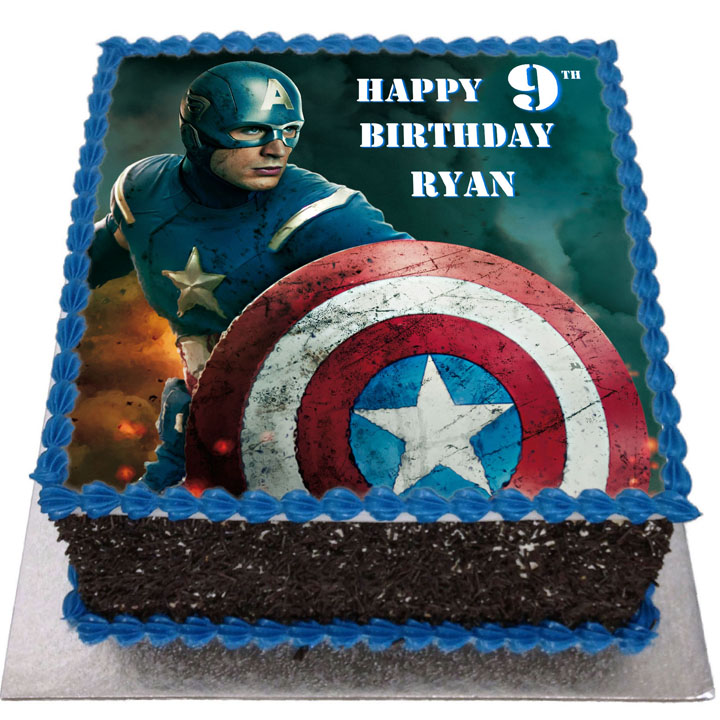 Fantastic Captain America Birthday Cake Flecks Cakes Funny Birthday Cards Online Elaedamsfinfo
