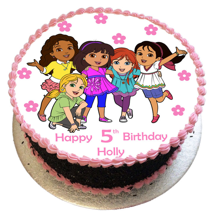 Superb Dora Friends Birthday Cake Flecks Cakes Personalised Birthday Cards Paralily Jamesorg