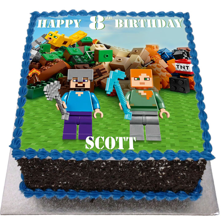 Lego Minecraft Birthday Cake Flecks Cakes